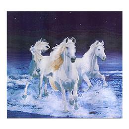 2017 окрашенная лошадь Отлично DIY 5D Алмазный вышивки Три лошади круглый бриллиант живописи Животные CrossStitch Вышивание Наборы Craft Home Decor окрашенная лошадь акция