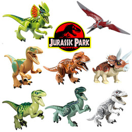 Wholesale 8pcs Jurassic World Park Minifigures Dinosaur Bricks Mini Figures Building Blocks Super Heroes baby toys Compatible with Lego0
