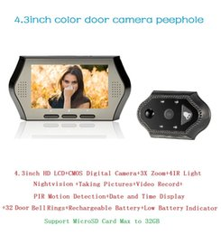 Hot door camera 0.3 Megapixels camera IR night vision PIR Motion Detection 32 Rings 3X Zoom digital door viewer 4.3 inch
