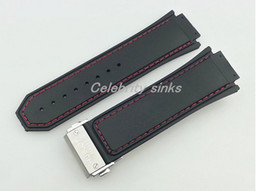 30mm New High Quality Red Stitched Black Silicone Rubber Watch BAND Strap with silver clasp