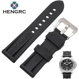 Regarder bracelet en caoutchouc noir en Ligne-HENGRC 22mm 24mm Watch Bands Black Silicone Rubber Diving Montres pour hommes Bracelet Boucle en acier inoxydable Vente en gros pour PANERAI