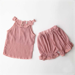 Wholesale Children Set Kids Suit Outfits Girl Dress Flower Summer Tank Tops Ruffle Shorts Girls Outfits Child Clothes Kids Clothing Ciao C25418
