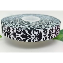 """7 8"""" 22mm Popular Black Damask Patterns Printed Grosgrain Ribbon Bows Crafts Decorations Gift Wrapping 50 100Yards lot A2-22-516"""