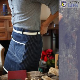 Wholesale Artist Chef Man Women Working Shop Kitchen Strap Denim Apron With Belt for Cupcake Cooking Salon Coffee Bar Barbecue Crafts