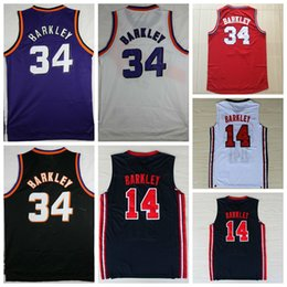 Wholesale 1992 USA Dream Team One Charles Barkley Jersey Fashion Charles Barkley Shirts Throwback Uniforms Red Black Purple White Navy Blue