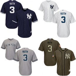 Wholesale Cool White Kids - Youth White grey blue Babe Ruth Authentic Jersey , kids #3 New York Yankees Cool Base Home baseball jersey