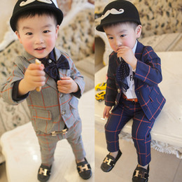 Wholesale The baby suit small formal attire checked suit children long sleeve children s wear boy and boy baby suit two piece