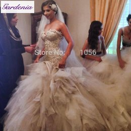 Wholesale Arabia Bridal Gown Gorgeous Cathedral Ruffle Bridal Gowns Vintage Vestido de Novia Sereia Fish Cut Muslim Wedding Dress with Fit and Flare