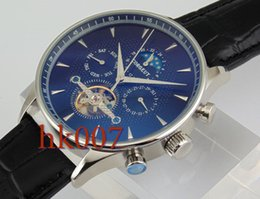 1582 Corgeut 44mm Silver Case Blue Dial Moon Phase Date Day Men's Stainless Steel Case Automatic Watch
