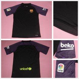 Wholesale 2016 New Barcelona goalkeeper jersey keeper Soccer jerseys men goalie TEER STEGEN C BRAVO J Masip Black Purple Keeper Jerseys
