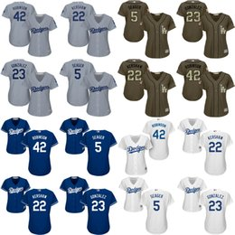 Wholesale women Corey Seager Clayton Kershaw Adrian Gonzalez Jackie Robinson Los Angeles Dodgers Baseball Jersey stitched size S XL