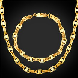 U7 Marina Chains Set 18K Real Gold Plated Platinum Plated Jewelry Set For Men Jewelry New Trendy Bracelet Necklace Set Accessories