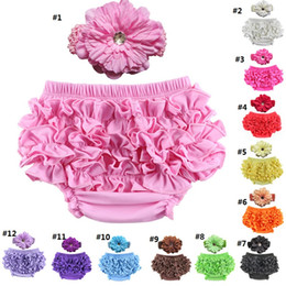 Cotton Baby girls underwear Ruffle baby Briefs PP pants bloomers kids bread panties toddler triangle underwear with flower headband K404