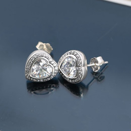 Wholesale Hot Sale Charm Earrings Crystal Heart Authentic Sterling Silver Fashion Women Jewelry European Style For Collection