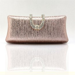 Wholesale Crystal Rose Evening Handbag - Ladies crystal diamond buckle rose gold evening bag day clutch wedding bridal package marry bag small mini handbag WY83