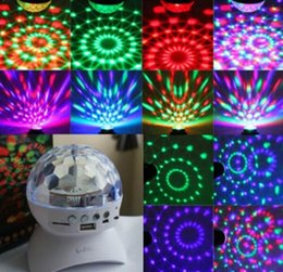 Wholesale Rotating Magic Ball speaker Light with W USB Wireless Bluetooth Speaker Mini Card Slot Rotating For KTV Xmas Party Club Pub Disco DJ