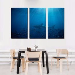 Wholesale LK394 Panel Great White Shark In Australia Blue Sea Wall Art High Giclle Wall Picture Print On Canvas For Home Bar Hub Kitchen Fashion D