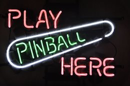 Play Pinball Here Game Room BEER BAR Real Glass Neon Light Sign Home Beer Bar Pub Recreation Room Game Room Windows Garage Wall Sign