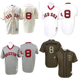 Wholesale GREY white Cream Throwback Carl Yastrzemski Authentic Jersey Men s Mitchell And Ness Boston Red Sox