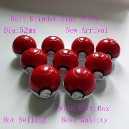 Wholesale pokeBall Grinder quot Mon poke ball Meatl Herb Grinder Metal Zinc Alloy Plastic Metal Grinders Parts Grinders Toy with gift box great