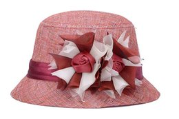 Spring and summer color linen hat Ms. breathable sun shade roses decorated flowerpot hat