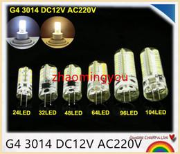 YON 100pcs lot G4 3014 DC12V AC220V Silicone LED Corn Light Crystal Lamp Bulb, 24 32 48 64 96 104 LED