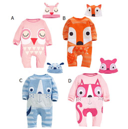 Wholesale 2016 new autumn Baby fox owl Romper Long sleeve cartoon cat dog Jumpsuits kids Animal shape climbing clothing with hat C1338