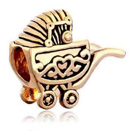 High quality gold Plated black enamel Love Baby trolleys European Charm Beads For Pandora Charms DIY Bracelet