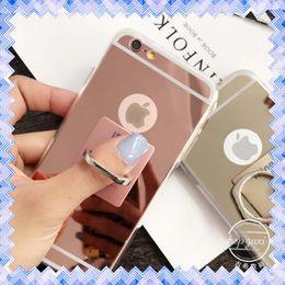 Compra Online Anillo de metal espejo-Espejo de lujo titular de anillo de dedo suave cubierta de la caja TPU para Samsung S6 S7 Edge iPhone 7 6 6s Plus