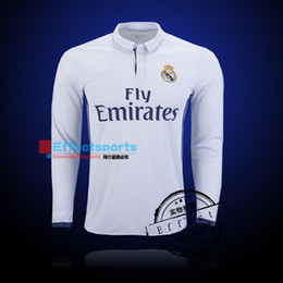 Wholesale Real Madrid long sleeve soccer jerseys uniform home away Maillot de foot Ronaldo james bale benzema kroos modric football shirts