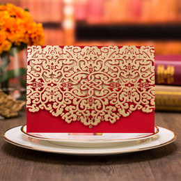 Wholesale Chinese Wedding Red Envelopes - Wedding Invitation 2016 New Patter Red Sample Personalized Handmade Laser Cut Lace Wedding Invitation Envelope Wedding Cards CPA570