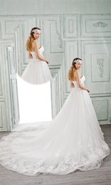 Wholesale BELLA BRIDE Lace up Empire Wedding Dresses Autumn Spring Sleeveless Pearls Crystal Luxury Wedding Dresses