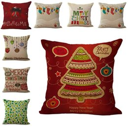Wholesale 73 type Merry Christmas Pillow Cases Cushion Cover Christmas tree Reindeer Santa candy ball Pillow Case Square Xmas pillow covers DHL