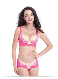 Sexy bra set one-piece bra Women's underwear and no pressure zero bound no steel ring warm breasts flame flower 32-38 B C cup 00241B