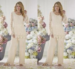 Elegant Ivory Lace Chiffon Mother Of The Bride Dresses Pant Suits Plus Size Mothers Wedding Party Formal Evening Dresses Suit Hot