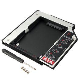 Una caja portadiscos disco en venta-HDD disco duro HD controlador universal Caddy 12,7 mm Caso externo SATA a SATA 2 de plástico para CD DVD DVD-ROM Bay óptico para el ordenador portátil