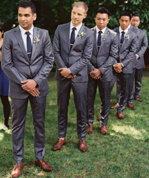 Wholesale Custom Made Two Button Trim Fit Groom Tuxedos Notch Label Best Man Suit Wedding Suits Two piece Designer Bridegroom Jacket Pants