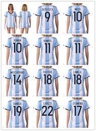 Wholesale 16 New national team Messi Women Soccer Jersey Thai Quality AGuero Soccer Shirts DI MARIA AFA Womens Football Jerseys