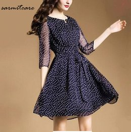 0236 - Chiffon Material Blue Color White Dot 1 2 Sleeve Knee Long One Piece Dress with Bow OL Working Dress Office Dress