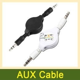 Wholesale Retractable audio connecting Cable Lead aux cable mm auxiliary audio cable general Black White for samsung Iphone mobile phone x1