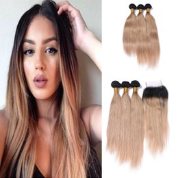 Ombre Peruvian Straight Hair With Top Closure Two Tone 1B 27 Honey Blonde Ombre Human Hair Bundle Deals With 4*4 Lace Closure