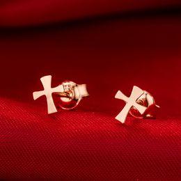 10Pair- S031 Small Flat Sideways Cross Earrings Simple Tiny Geometric Earring Cool Faith Christian Religious Cross Stud Earrings