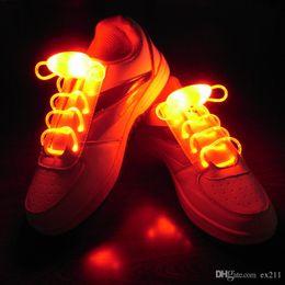 Wholesale 50pcs pairs LED Shoelaces Shoe Laces Flash Light up Glow Stick Strap Shoelaces Party Queen Night Club Bar Hip hop for Sportshoes Running