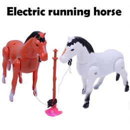 MX1006 16.5x14x5cm Children small animal toy electric horse model with fake stump cupula and sound can running wholesale