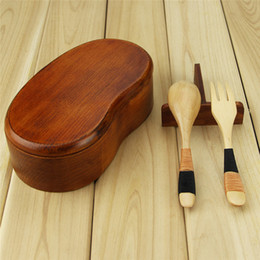 Wholesale Aoosy Single Layer Waist Shape Brown Wood Lunch box of Outdoor Play Sushi Lunch Bowls Free Delivery