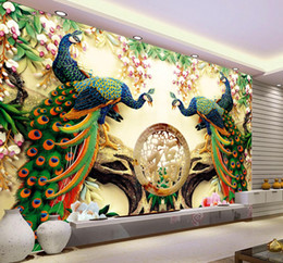 Wholesale Large Painting Home Decor Peacock Phoenix Branch Jade Murales De Pared d Wallpaper Hotel Background Modern Mural for Living Room