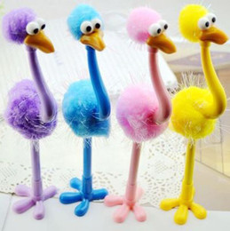 Wholesale 2016 New Arrival Gel Pens Ostrich Design Roller Ball Pens Creative Stationery Non sucker Special Fancy Stand up