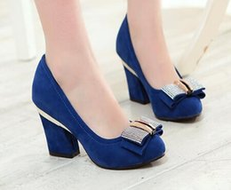 Plus size 33-43 Spring new 2016 fashion high-heeled square heel woman OL shoes round toe thick heels pumps single shoes