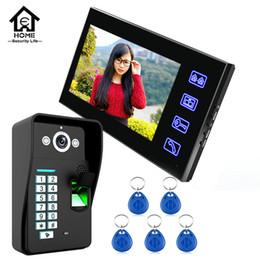 Descuento línea de hd Venta al por mayor-SY816A - MJF11 7 pulgadas LCD de reconocimiento de huellas dactilares Video puerta del teléfono del sistema de intercomunicación IR Cámara HD 1000 TV Línea UK enchufe