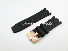 28 mm new high-quality stainless steel rose gold buckle black diving silicone rubber watch band strap G-AP38